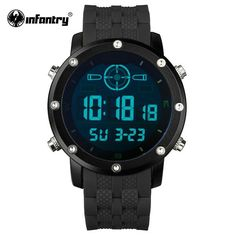 Mens Infantry Style Wristwatch - Digital LED - Rubber Band #menswatch #watches #dualdisplay #outdoors #climbing #military