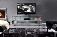 Acquario TV #TVstand #design by Lestrocasa Firenze #interiordesign #home #steel #modern #glass #Lestrocasa