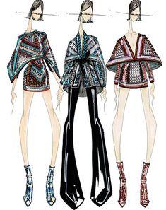 Znalezione obrazy dla zapytania balmain fashion sketches