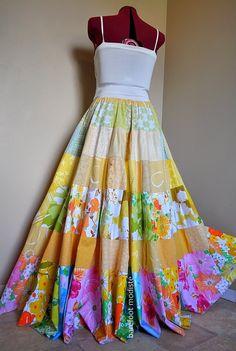 Sun Blossoms Long Floral Patchwork skirt OOAK Tiered Boho