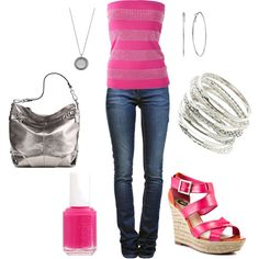 Pink and Silver, created by meredith723 on Polyvore