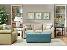 """Shop for True Sleep Storage Ottoman, 4005, and other Living Room Ottomans at Oskar Huber Furniture in Southampton, PA and Ship Bottom, NJ. Legs: 1 1/2"""" Plastic Legs. Cover Dean, Barley (Shown) Robin Egg (shown), and Spring."""