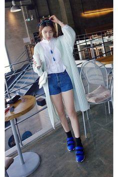 blue MIAMASVIN shorts - aquamarine MIAMASVIN cardigan - white MIAMASVIN blouse