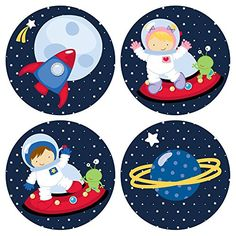 Amazon.com: Outer Space Stickers for Boys and Girls - Favor Labels - Set of 50: Handmade  In a set, you will receive cute 50 (Thirty) Outer Space Party Stickers. There are 7 (seven) different images in each set. Please note, there will be duplicates.