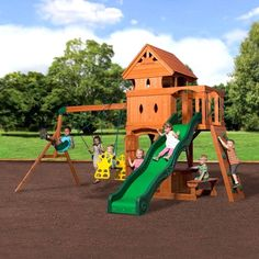 Gorilla Playsets Chateau Swing Set with Wood Roof Cedar Swing Sets, Outdoor Swing Sets, Outdoor Play, Outdoor Living, Nutrition Education, Play Swing Set, Play Sets, Cedar Roof, Backyard Playground