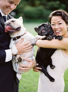 The silliest Frenchie pups: http://www.stylemepretty.com/2016/01/27/al-fresco-garden-wedding-in-montecito/ | Photography: Jose Villa - http://josevilla.com/
