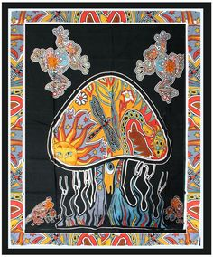 """Indian Hippie Wall Hanging 58""""X82"""" Psychedelic Mushroom Tapestry Dorm Throw bed"""