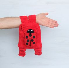 Backpack for Kid Bag with Ladybug Ladybird Rucksack Red Black Boho Crochet Purse Hippie Eco friendly For nature lovers - pinned by pin4etsy.com