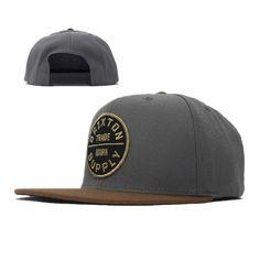 Brixton Oath Snapback Hats Grey Brown 6711! Only  8.90USD b206b889a871