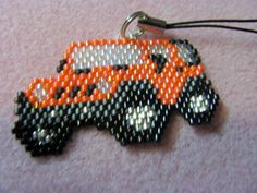 Hand Beaded Orange Jeep cell phone charm by beadfairy1 on Etsy