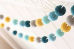 Felt Ball Garland- Blue  Teal Mustard Garland- Mellow Yellow Accent- Pom Pom Garland- Wall Decoration- Colorful party garland- w/ Free Gift