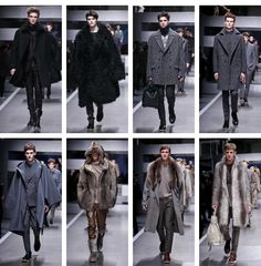 We are seeing a revival of luxurious furs, from full jackets and coats to trims and accents in a variety of cuts and silhouettes. This is no longer your grandma's old fur. Furs, Silhouettes, Fendi, Fur Coat, Fall Winter, Menswear, Coats, Jackets, Fashion