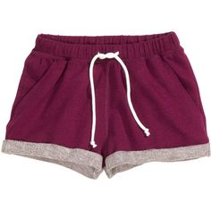 H&M Sweatshirt shorts featuring polyvore, fashion, clothing, shorts, bottoms, pants, pajamas, plum, h&m and h&m shorts