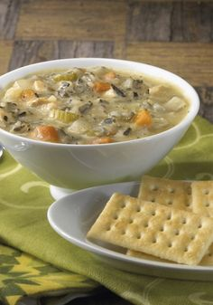 Chicken and Wild Rice Soup-a healthy and hearty soup that is made in the slow cooker!