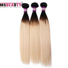 Msbeauty Weave Hair  Grade 7AA Brzilian Hair Weave Ombre Remy Hair Extensions Can Dye To Any Color
