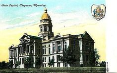 Cheyenne Wyoming WY 1908 State Capitol State Seal Antique Vintage Postcard
