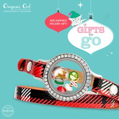 """Origami Owl """"Gift To Go"""" Jingle All The Way  Retail Value: $76 USD with Medium Silver Wrap Locket Base Medium Silver Twist Locket Face with Crystals Leather Plaid Wrap Bracelet (6""""-7 1/4"""") Dark Moss Green Round Crystal Light Siam Round Crystal Rudolph Snow Globe Charm North Pole Sign Charm"""
