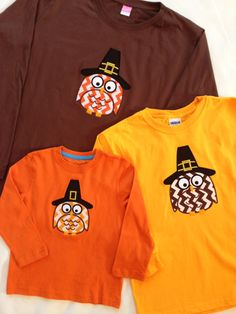 ON SALE!  Custom Boutique Pilgrim Owl Appliqué Long Sleeve T-Shirt For The Whole Family! by littlehcdesigns now at http://ift.tt/2H7sv9E