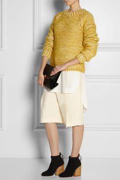 Chloe | Chunky-knit cotton-blend sweater | Chloé|Silk crepe de chine tunic|Chloe | Woven-wool Bermuda shorts | Chloe | Neoprene boots | Nina Ricci | Leather and suede clutch