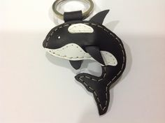 Bob the Killer Whale Leather Keychain ( Black