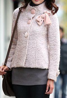 Fashion Bowtie Warm Short Stand Collar Slim Elegant Wollen Overcoat