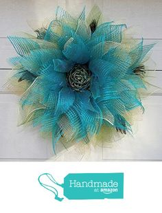 Peacock Colors Mesh Flower Wreath Ribbon Center Blue Green Gold Home Door Wall Decor 26 inch from JKatsKreations
