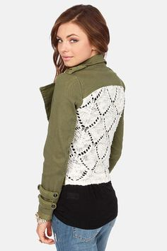 Knit-Back Army Green Jacket