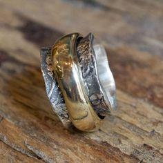 Wedding ring Spinner Ring Sterling Silver Gold Ring by artisanlook