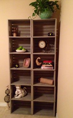 "$14 crates from Michaels + RustOLeum ""driftwood"" stain = rustic DIY bookshelf!"