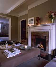 Living Room With Red Brick Fireplace wall color to complement red brick fireplace | she's a brick