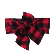 Red and Black Buffalo Plaid Vintage Inspired Head Wrap  $14.00