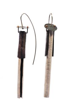 Oxidized sterlings silver and polished silver earrings Biba Schutz.