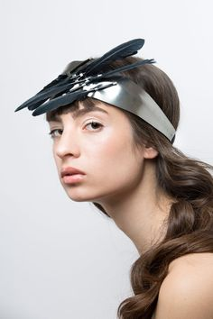 Leather Headpiece - Feather Crown - Unique leather headband - Fashion headpiece - Flapper headpiece - Hats & Headpieces