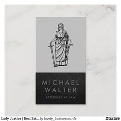 Lady Justice | Real Estate | Leather Trim Business Card
