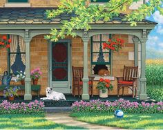 John Sloane painting of quaint house with rocking chair and pets on the porch. Country Art, Country Life, Country Living, Cottage Art, Cottage Porch, Country Scenes, Naive Art, Painting Inspiration, Home Art