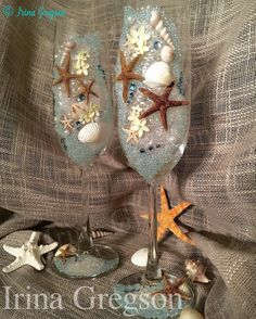 Wedding glasses with Swarovski crystals natural by IrinaGregson