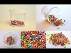 how to: miniature sprinkles Polymer Clay Tools, Polymer Clay Miniatures, Fimo Clay, Polymer Clay Charms, Polymer Clay Jewelry, Chocolates, Biscuit, Clay Tutorials, Miniature Tutorials