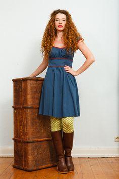 Minikleider - Mittelblau-rotes jeden-Tag-Kleid - ein Designerstück von Peppermint_Patty bei DaWanda