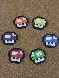 1 Up Mushroom Bead Art | Keychain, magnet, hair clips | Super Mario Brothers | 8 bit, retro
