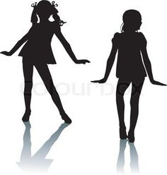 Dancing silhouettes children