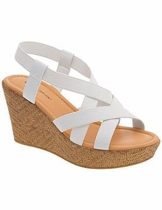Wow-worthy wedge sandal elevates sunny Summer looks with stretchy straps for a true-to-you fit. Textured, molded wedge heel offers lift, stability and comfort, in wide widths with a padded sock. lanebryant.com