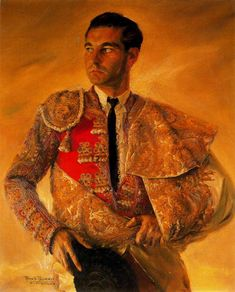 Portrait of Antonio Bienvenida oil on canvas by Baldomero Romero Ressendi ( Sevilla, 1922-Madrid 1977)