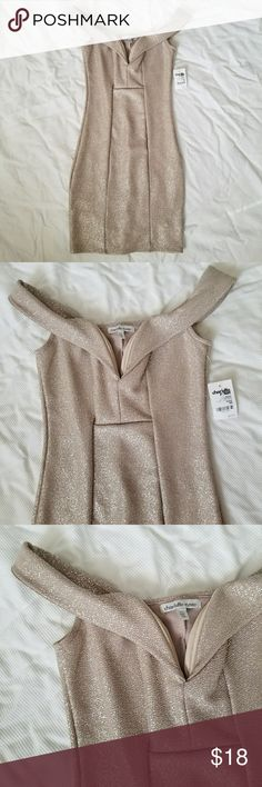 Form Fitting Champagne Dress Figure flattering dress with slight shimmer. Cap sleeves. Really pretty. New, no flaws. Charlotte Russe Dresses Midi
