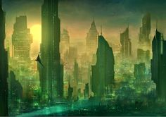 """NAME: Florian Herold WEB: http://drawcrowd.com/heroldfa COUNTRY: Germany SOCIAL: https://www.facebook.com/heroldfa TITLE: """"tales of the future"""" TECHNIQUE: digital painting YEAR: 2015 DESCRIPTION: This sis a city in a world dominated by technology, driven by mankind's strive for progress and perfection, and exploited, destroyed by its inhabitants."""