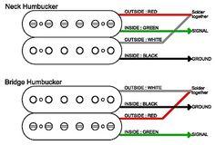 guitarelectronics com guitar bass 4 wire humbucker color code rh pinterest com artec pickup wiring diagram Seymour Duncan Humbucker Wiring Diagrams