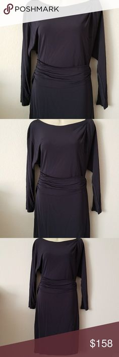 THEORY NAVY DRESS WITH THICK BAND 100% RAYON. This beautiful Theory dress is long sleeved with a thick waistband accent.  In EUC.      14 Theory Dresses Midi