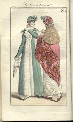 French Fashion, Fashion Art, Empire Clothing, Pink Shawl, Number 8, Vintage Girls, Fashion Plates, Hand Coloring, Regency
