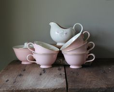 Vintage Pink Dishes Taylor Smith Taylor Queen Anne's Lace Pattern Creamer Sugar Tea Coffee Cups Gold Trim Kitchen 50s Decor $25