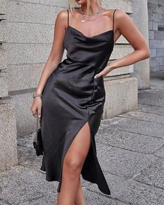 Cowl Neck Satin Camisole Slit Dress latest fashion apparel for you! We have dresses, tops, bottoms and swimwear for girls and ladies. Black Prom Dresses, Satin Dresses, Elegant Dresses, Homecoming Dresses, Pretty Dresses, Casual Dresses, Sexy Dresses, Black Satin Dress, Summer Dresses