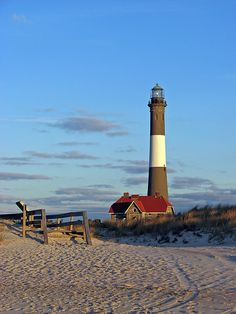 Fire Island Lighthouse - on the western end of Fire Island, a barrier island. Fire Island is off the southern coast of Long Island, New York